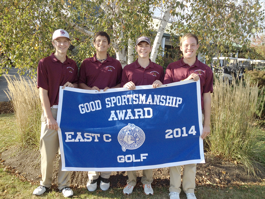 The Eagles varsity golf team won the Eastern Class C Sportsmanship award at the state championships in Vassalboro on October 11. From left, Dakota Chipman, Stefan Simmons, Tyler McKenney and Joe Maier.