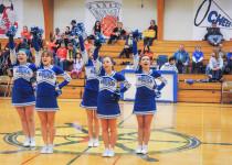 The DIS cheerleaders work the crowd