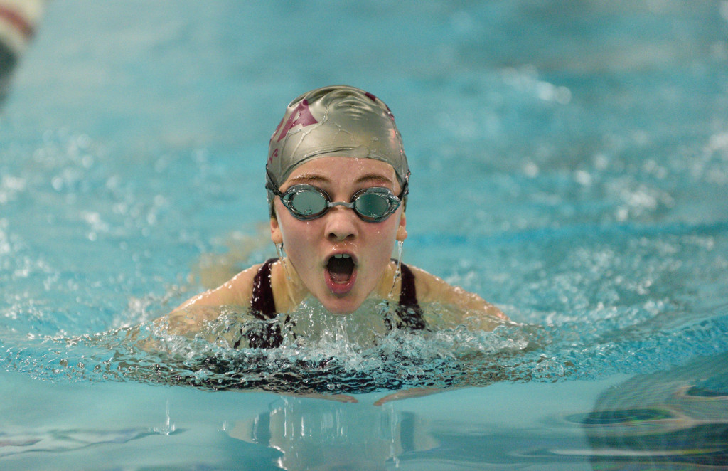 Mary Richardson swims the 100 yard breastroke at FOxcroft Academy. Photo by Franklin Brown