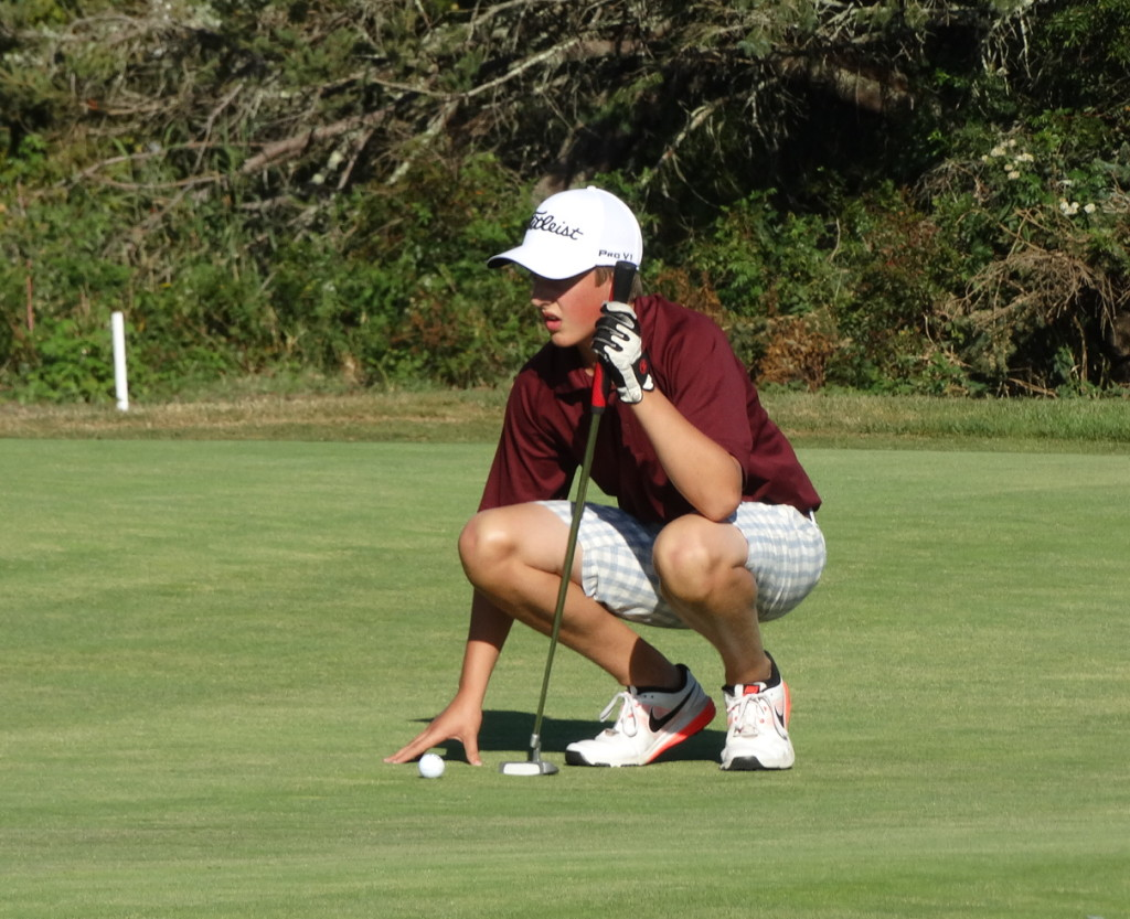 The Eagles opened the varsity golf season at the Castine Golf Club in matches against Ellsworth and Bucksport. Photo courtesy of George Stevens Academy