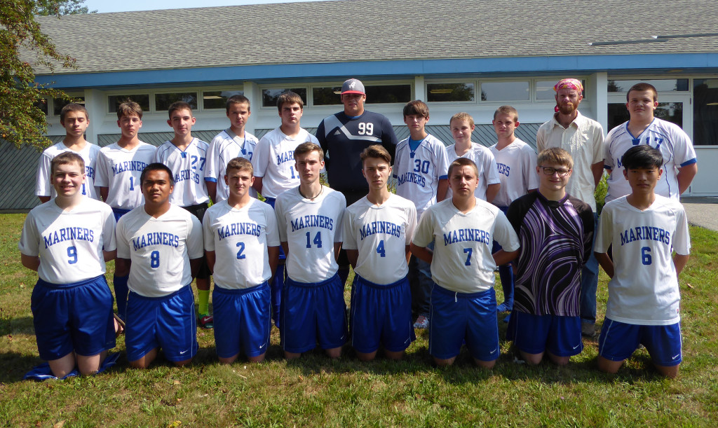 The Mariners varsity soccer team players—front row, from left: Isaac Vaughn, Krisford Melanio, Noah Davis, Paul Zoephel, Marvin Merritt, Devin Carlisle, Cameron Wendell and Dongyeong Kim. Back row, from left: Stephen Cochrane, Liam Griffith, Colby Haskell, Kinsey Bartlett, Nate Winchester, Ethan Shepard, Dakota Gillen, Trey Plummer, Andrew Atherton andCoach Joey Stinson, Tyson Rice