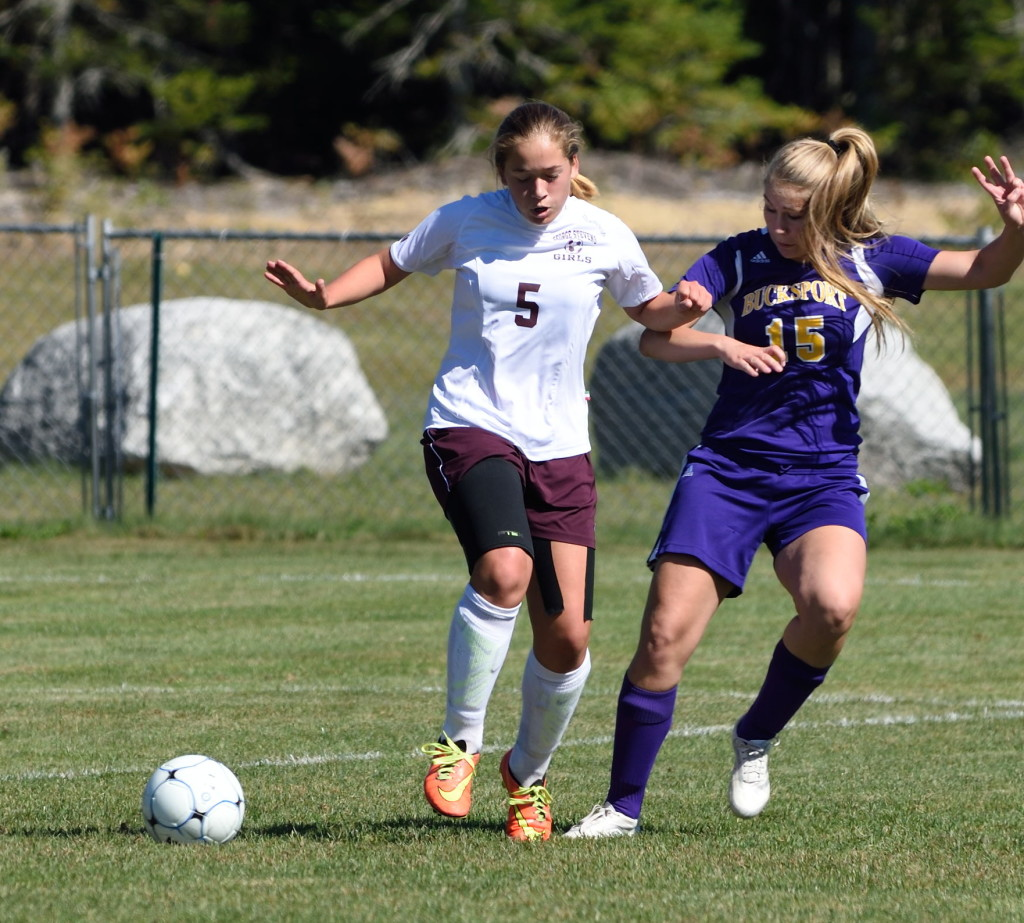 Lindsay Nevin aims to control the ball against Bucksport.  Photo by Franklin Brown