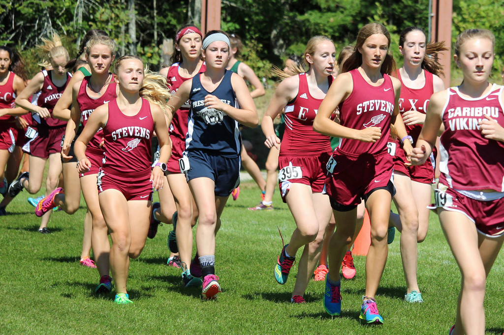 The George Stevens Academy cross country girls team won a decisive victory over 19 schools at the Ellsworth Invitational on September 5. Photo by John Richardson