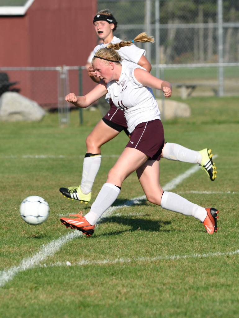 Nellie Haldane, shown in regular season play, scored the winning goal in the quarterfinals.  Photo by Franklin Brown