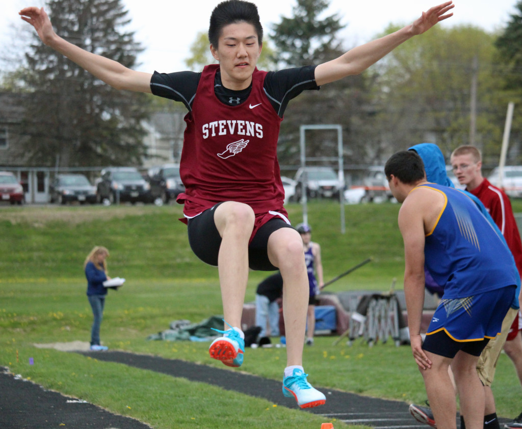 The Eagles track teams win a handful events on May 12 and hold their own against large school teams Bangor and Hampden