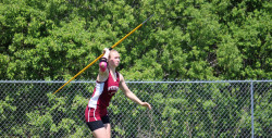 Morgan Dauk wins back-to-back state medals in javelin throw.  Photo by John Richardson