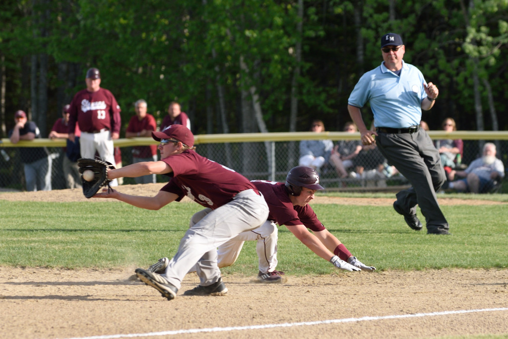 Dakota Chipman makes it to third base against Mattanawcook. PHoto by Franklin Brown