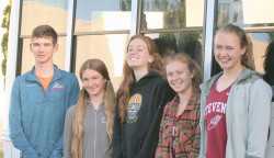 Eight members of the Eagles track team qualified for and competed at the New England Track and Field Championships in New Britain, Conn. on June 11. Front, from left, Zeya Lorio, Mary Richardson and Hanna Gutow. Back, from left, John Hassett, Eliza Broughton, Mazie Smallidge, Bella Cimeno and Morgan Dauk. Photo by John Richardson