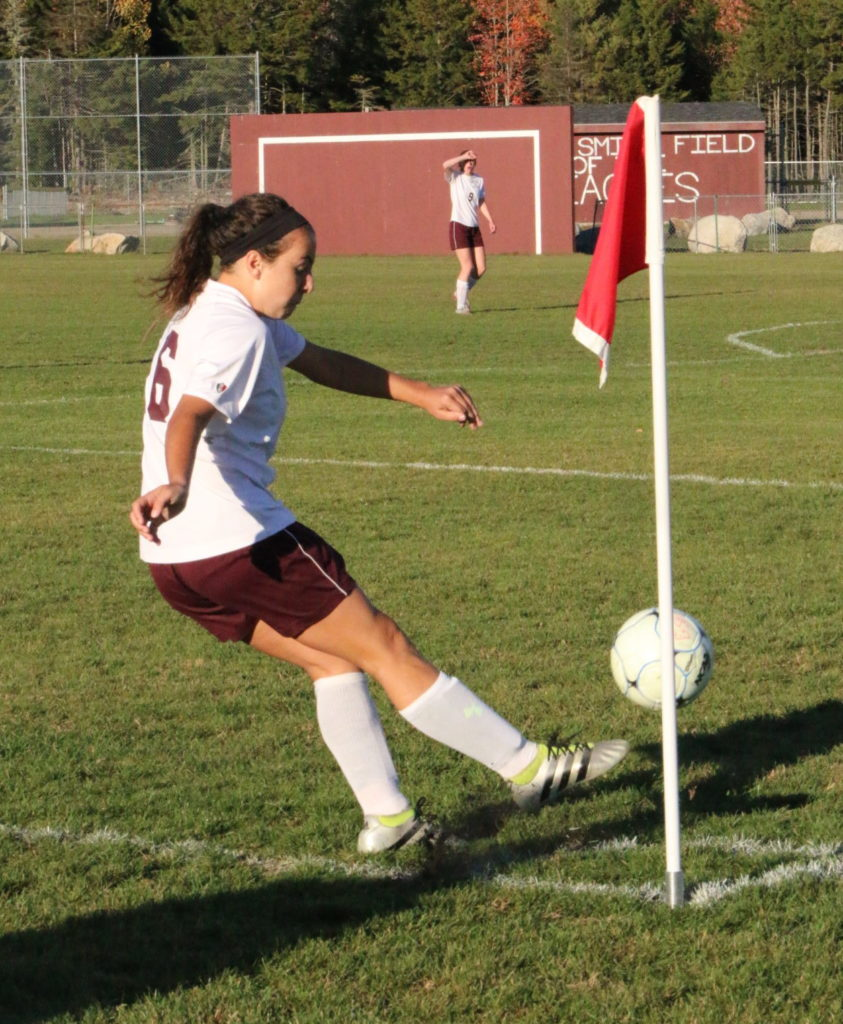 GSA's Danielle Bianco takes a corner kick. Photo by Monique Labbe