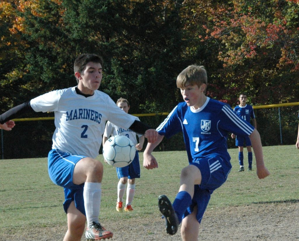 Colby Haskell works the ball. Photo by Jack Scott