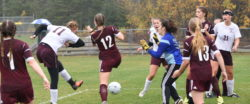 Nellie Haldane scores the first goal for GSA against Washington Academy.   Photo by Franklin Brown