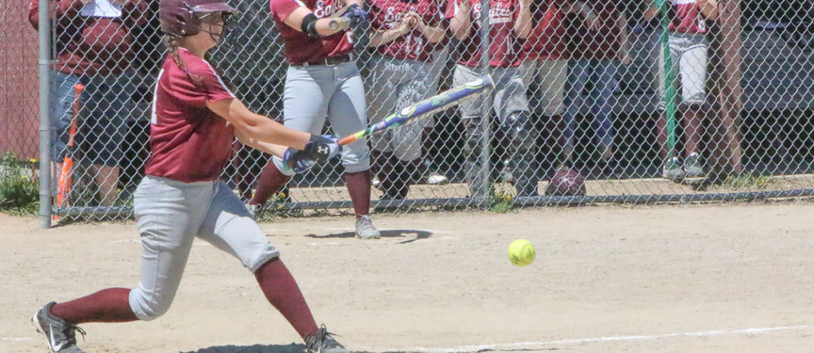 Eagle softball team edged out in seventh inning blitz