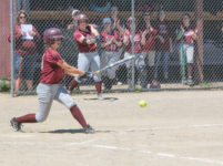 Danielle Bianco hits a grounder
