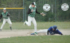 Silas Bates slides onto base