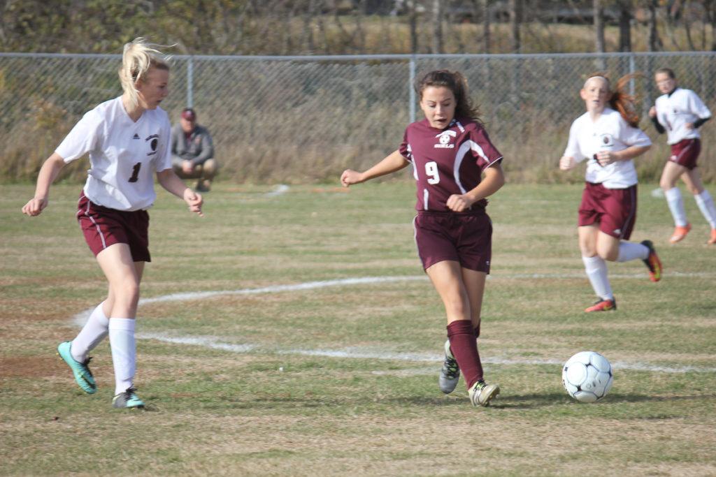 Junior Danielle Bianco controls the ball